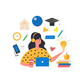 Cute character with different elements for online education.  Girl and objects for study around.