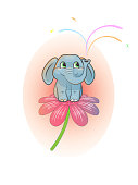 cute cheerful baby elephant sits on a flower