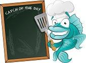 Cute Chef Fish with Spatula and Menu Board.