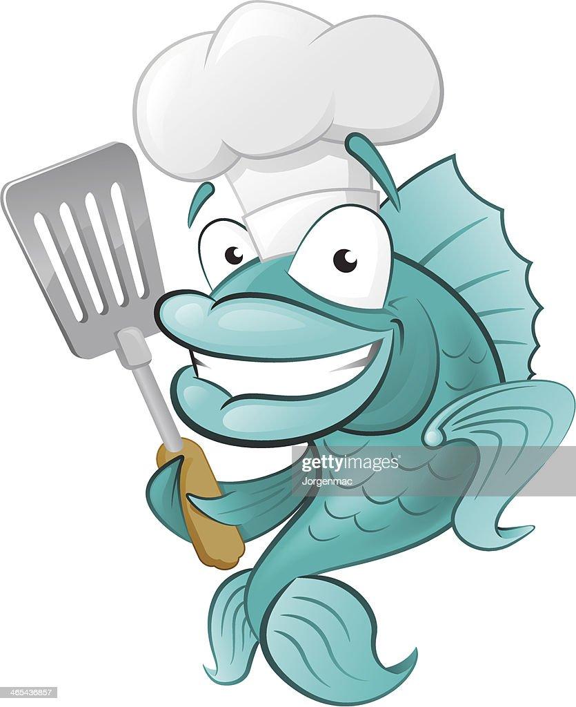 Cute Chef Fish with Spatula.