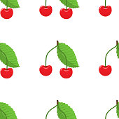 Cute cherry seamless pattern with flat and solid color style. Good for textile, wrapping, wallpapers, etc. Vector illustration with white background.