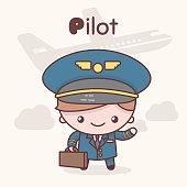 Cute chibi kawaii characters. Alphabet professions. Letter P - Pilot.