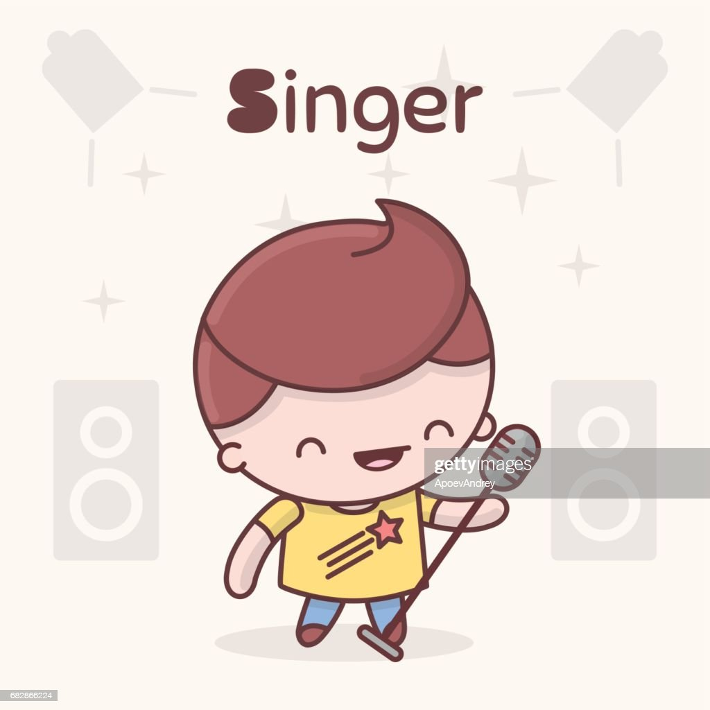 Cute chibi kawaii characters. Alphabet professions. Letter S - Singer.