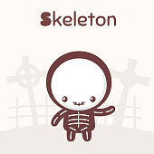 Cute chibi kawaii characters Halloween set. Cheerful boy in a skeleton costume on the background of a cemetery. Flat cartoon style