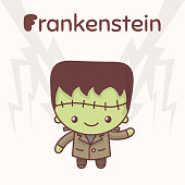 Cute chibi kawaii characters Halloween set. Merry Frankenstein against the backdrop of lightning. Flat cartoon style