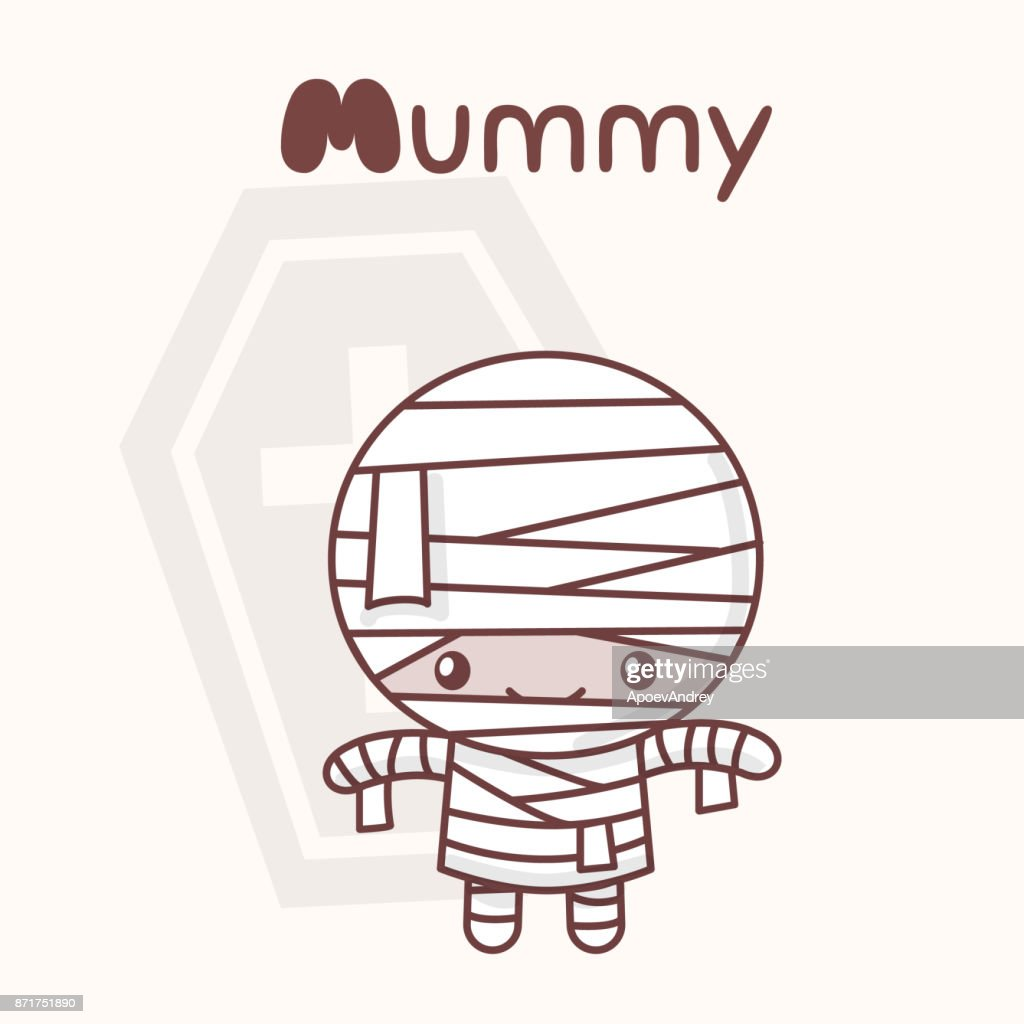 Cute chibi kawaii characters Halloween set. Merry mummy against the back of the coffin. Flat cartoon style