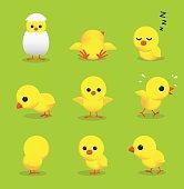 Cute Chick 3D Cartoon Character Poses