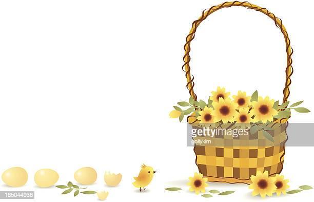 ilustrações, clipart, desenhos animados e ícones de linda garota e belo buquê - cesta de páscoa