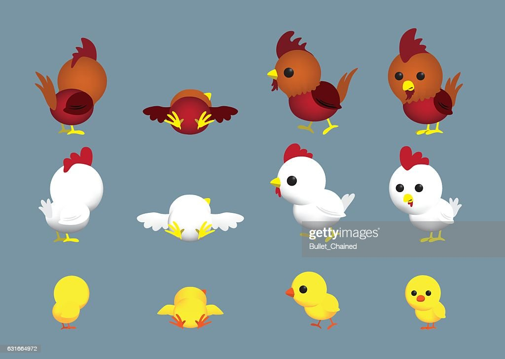 Cute Chicken Family Cartoon Character Poses Set 1