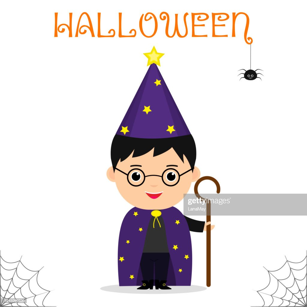 Cute child dressed in a suit of the astrologer mage with a staff celebrating at a Halloween party isolated on a white background.