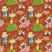 cute childlike seamless pattern with little fairy, prince and princesse