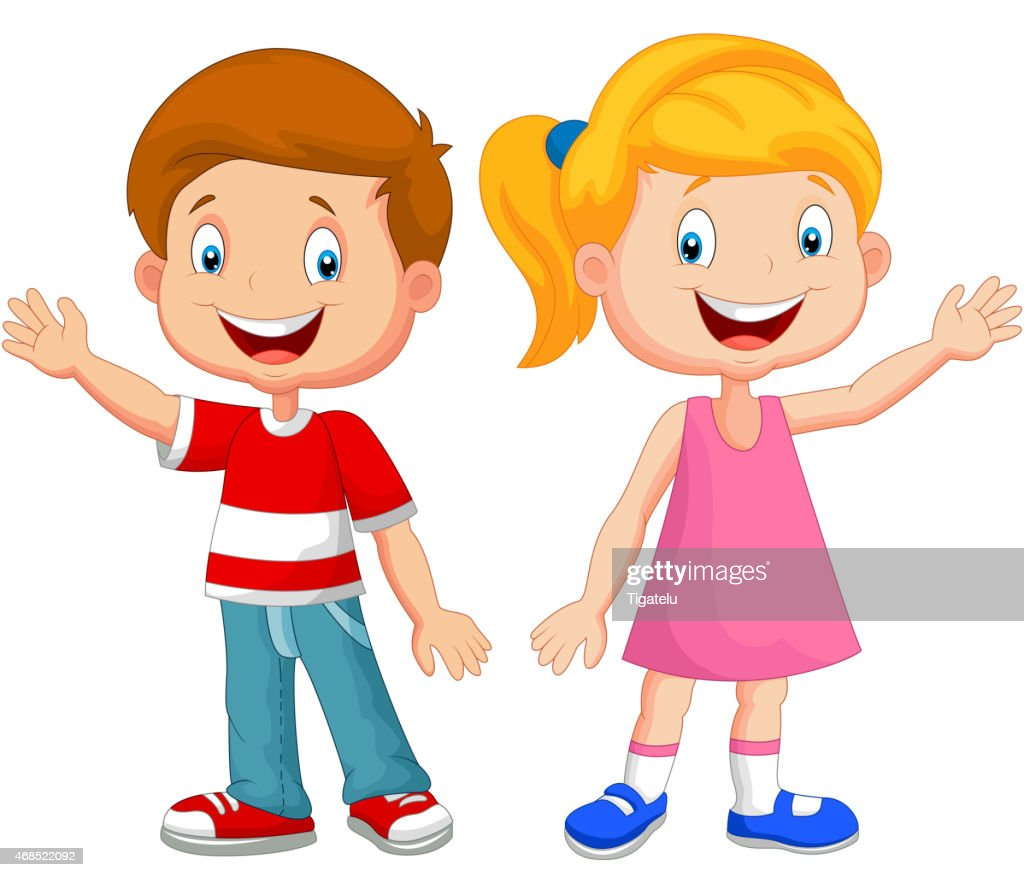 Cute children cartoon waving hand