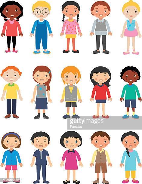 ilustrações de stock, clip art, desenhos animados e ícones de fofinho crianças caracteres - ficar de pé
