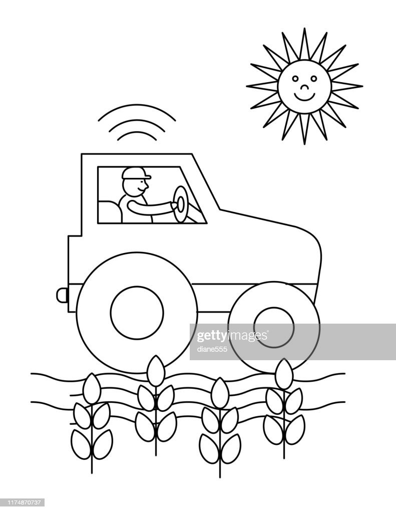 Cute Childrens Farm Coloring Book Page Tractor High Res Vector Graphic Getty Images