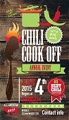 Cute Chili cookoff invitation design template on wooden background