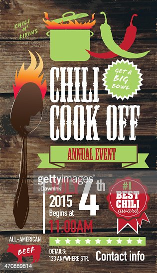 cute chili cookoff invitation design template on wooden