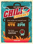 Cute chili cookoff party invitation design template