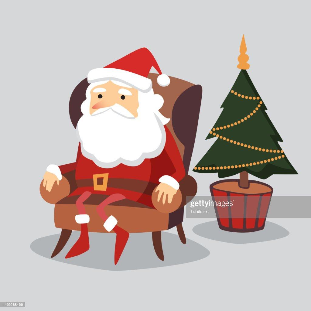 Cute  christmas greeting card, Santa Claus sitting in armchair, vector