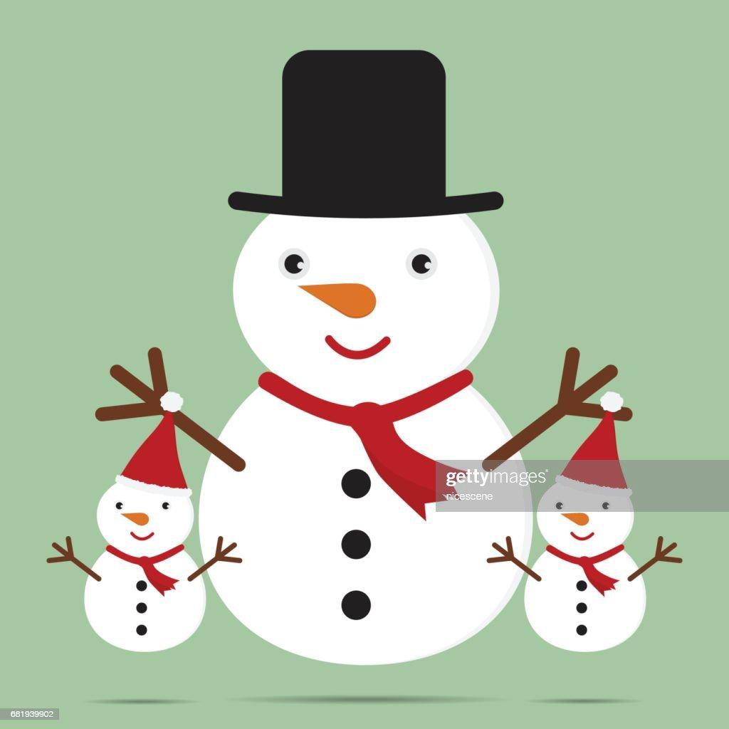 Nette Begrüßung Weihnachtskarte Mit Cartoon Schneemann Familie ...