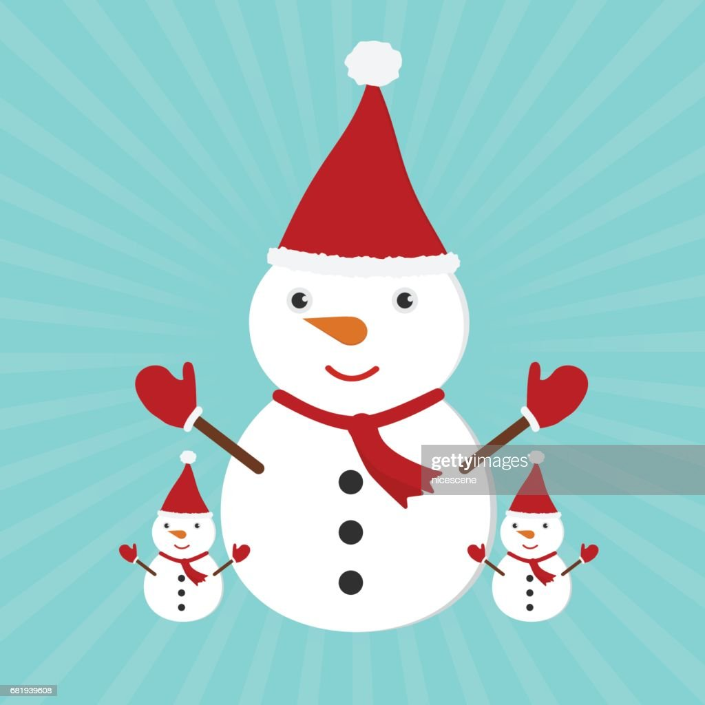 Cute Christmas Greeting Card With Cartoon Snowman Family With