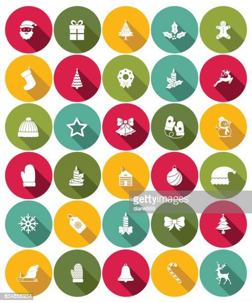 cute christmas icons - flat design style - tobogganing stock illustrations, clip art, cartoons, & icons