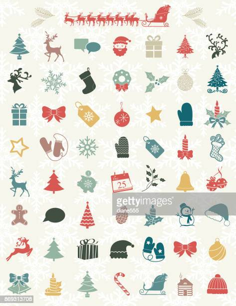 cute christmas icons on a snowflake backgorund - sleigh stock illustrations