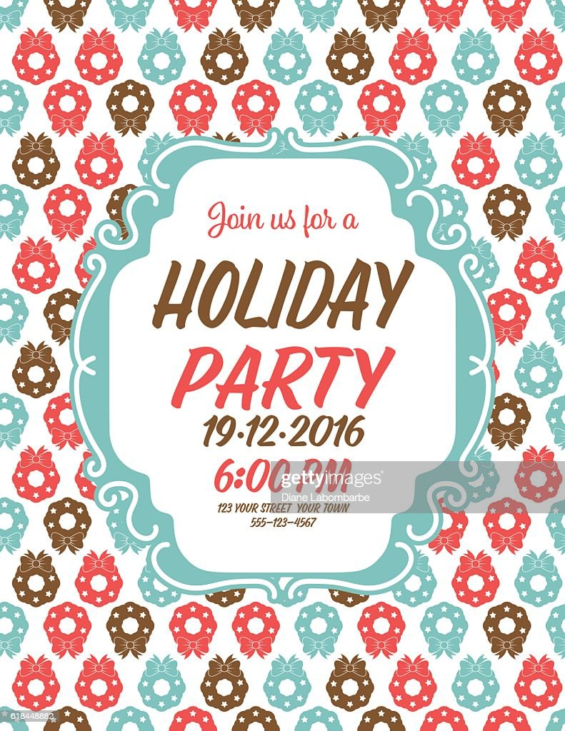 Cute Christmas Party.Cute Christmas Party Invitation With Holiday Icons