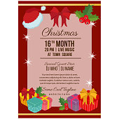 cute christmas party poster template with present box
