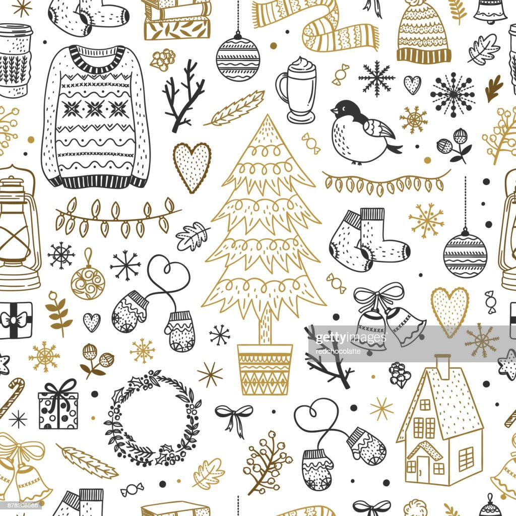Cute Christmas pattern. Seamless background with winter elements, New Year and Christmas doodles