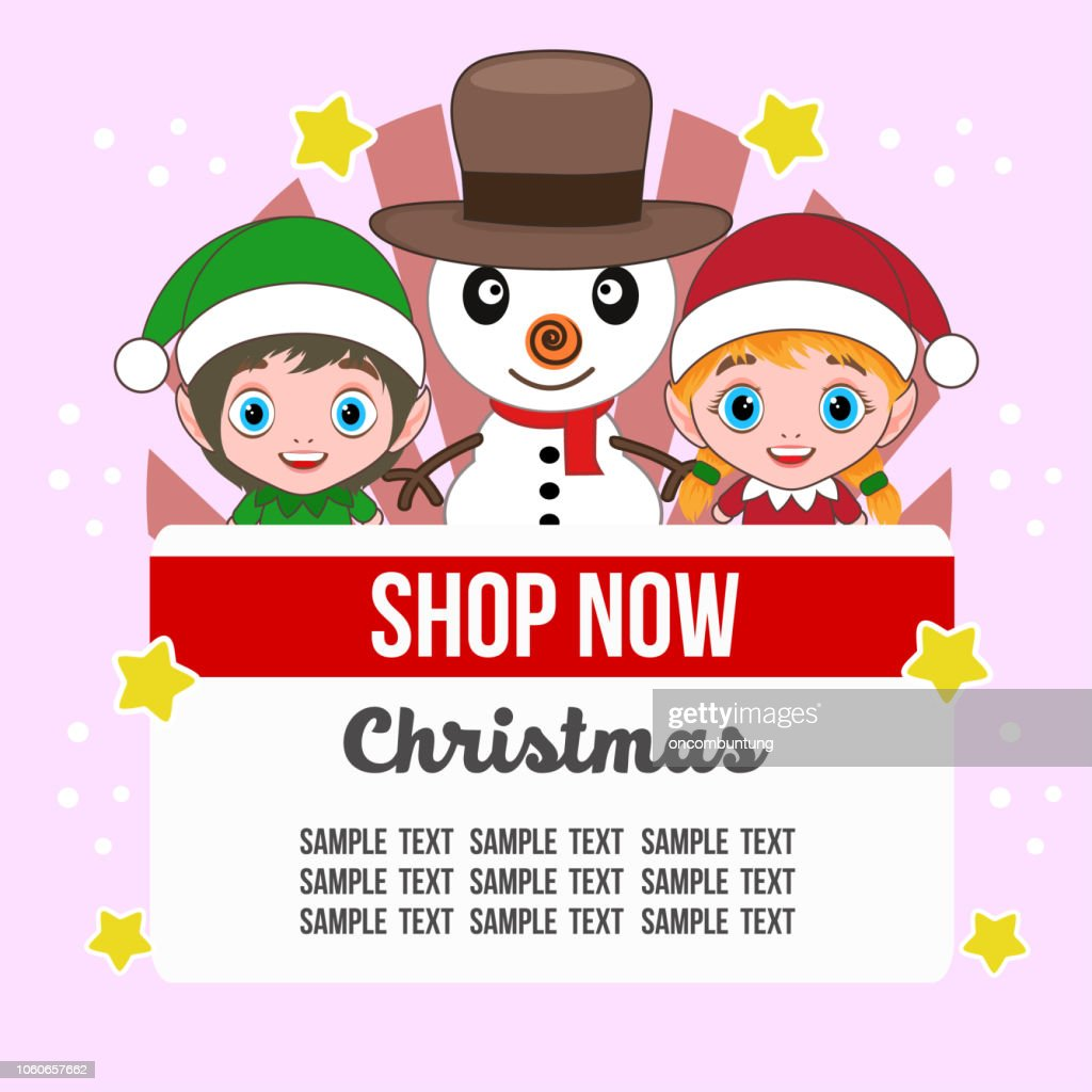 cute christmas shop theme with kids characters
