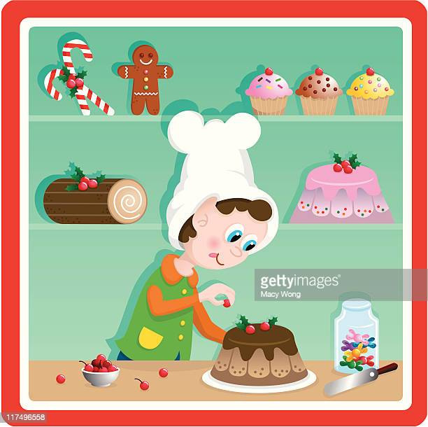 cute christmas toy factory baker elf - making a cake stock illustrations, clip art, cartoons, & icons