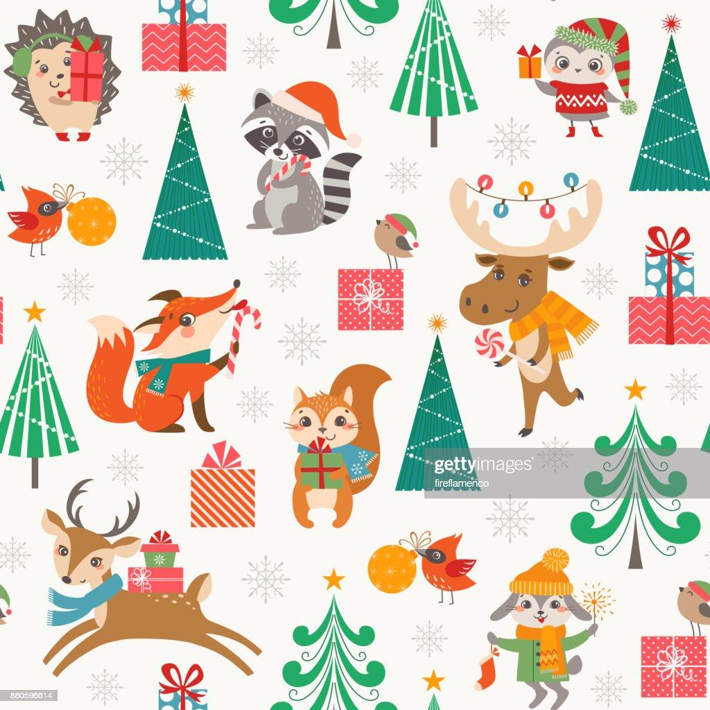 Cute Christmas woodland pattern with happy cartoon animals