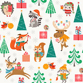 Cute Christmas woodland pattern with happy cartoon animals