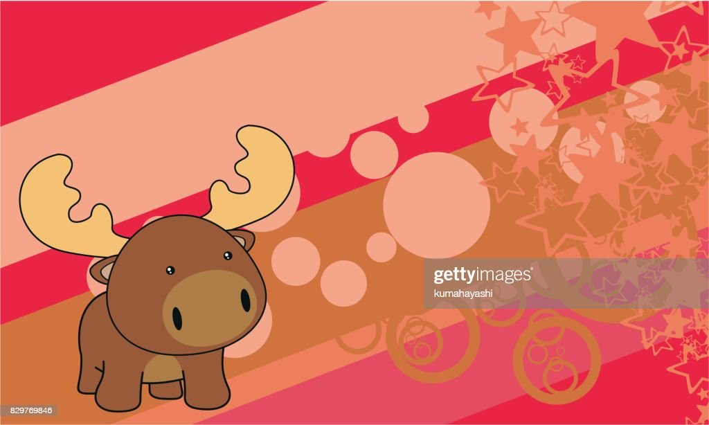 cute chubby little baby moose cartoon background