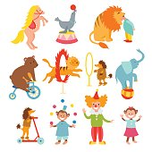 Cute circus animals and funny clowns collection vector illustration