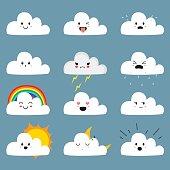 Cute Cloud Emojis Vector Collection