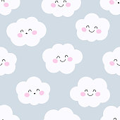 Cute clouds. Seamless vector pattern