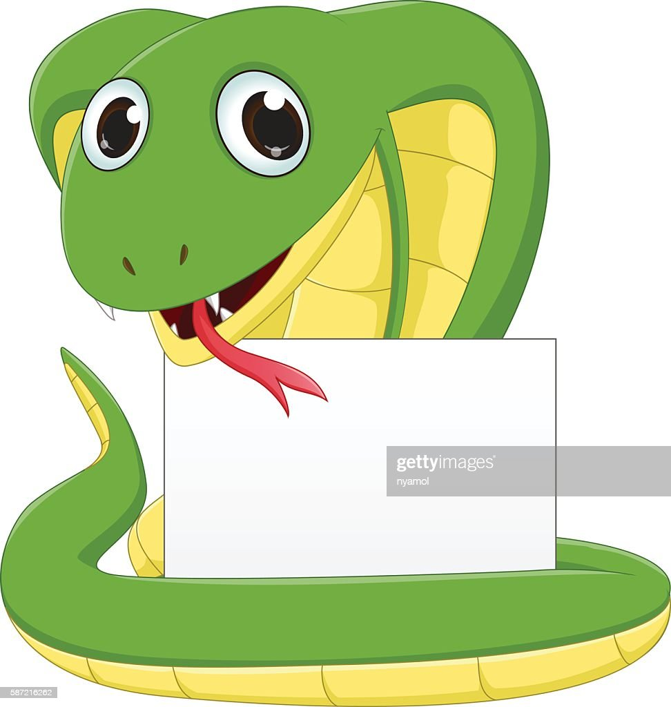 cute Cobra cartoon with blank sign