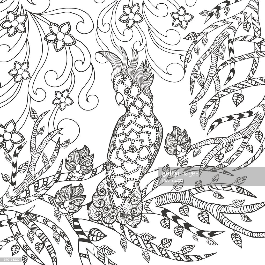 Cute cockatoo coloring page