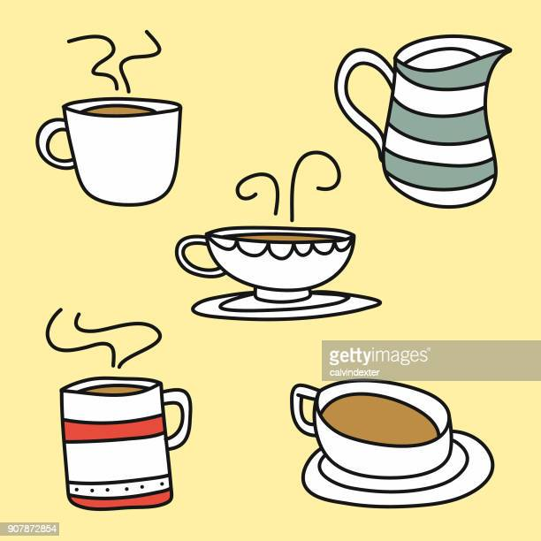 cute coffee cups - coffee break stock illustrations, clip art, cartoons, & icons