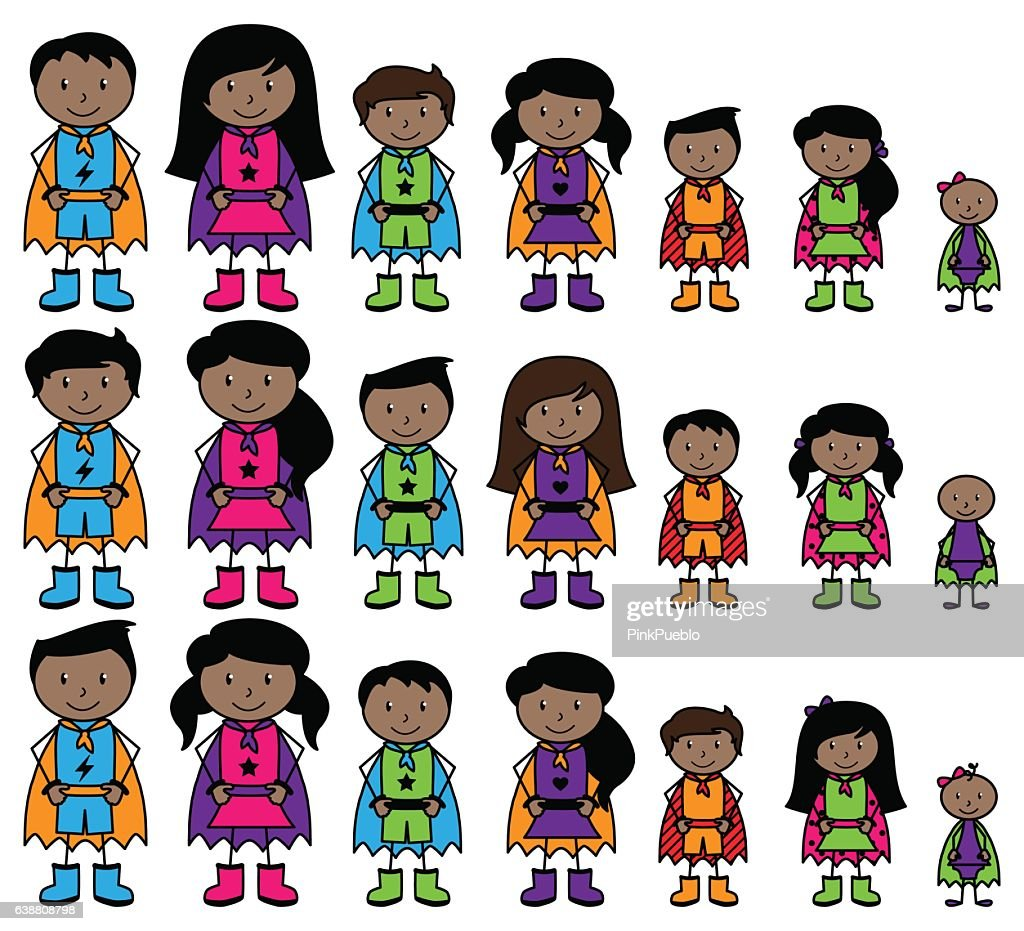 Cute Collection of African American or Hispanic Stick Figure Superheroes