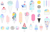Cute collection of different ice cream. Vector. Isolated