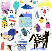 Cute collection of different shapes in collage cartoon style