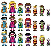 Cute Collection of Diverse Stick Figure Superheroes or Superhero Families