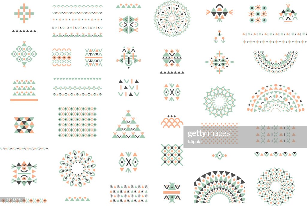 Cute Collection of Ethnic patterns. Geometric and aztec decor elements.