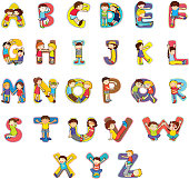 Cute, colored alphabet with children drawings
