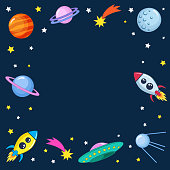 Cute colorful background template with space mars stars planets ufo rockets spaceships satellite and comet on dark background.