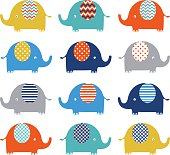 Cute Colorful Elephant pattern