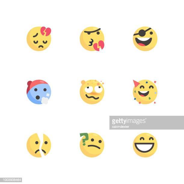 Cute colorful emoticons set