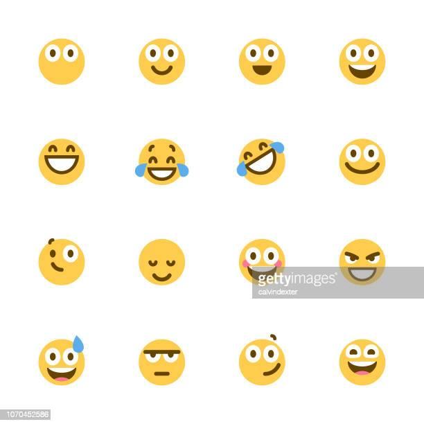 Süße bunte Emoticons Satz